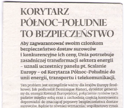 Dziennik Gazeta Prawna: The North-South Corridor means security (April 2015)