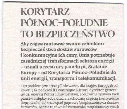 Dziennik Gazeta Prawna: The North-South Corridor means security (April 2015)
