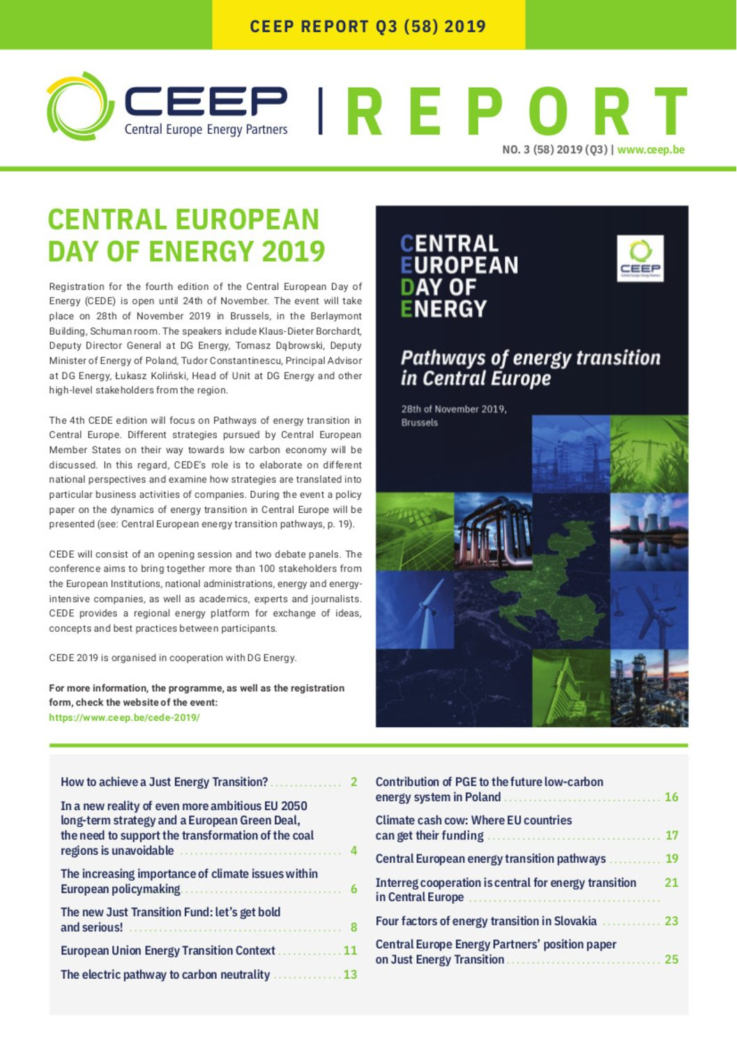 CEEP Report (Q3) 2019: Pathways of energy transition in Central Europe